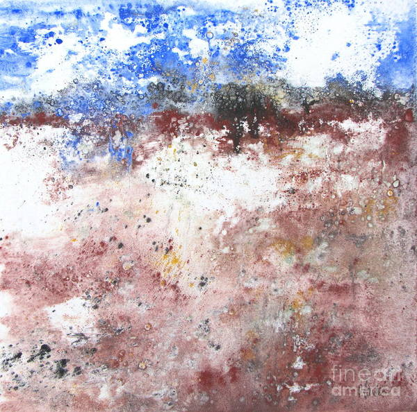 Monotype Mixed Media - Abstract Landscape  by Pamela Iris Harden
