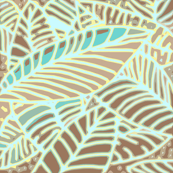 Digital Art - Abstract Leaves Coffee And Aqua by Karen Dyson