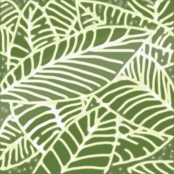 Digital Art - Abstract Leaves Fern Green by Karen Dyson