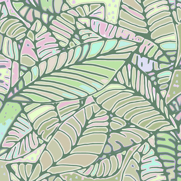 Digital Art - Abstract Leaves Green And Pink by Karen Dyson