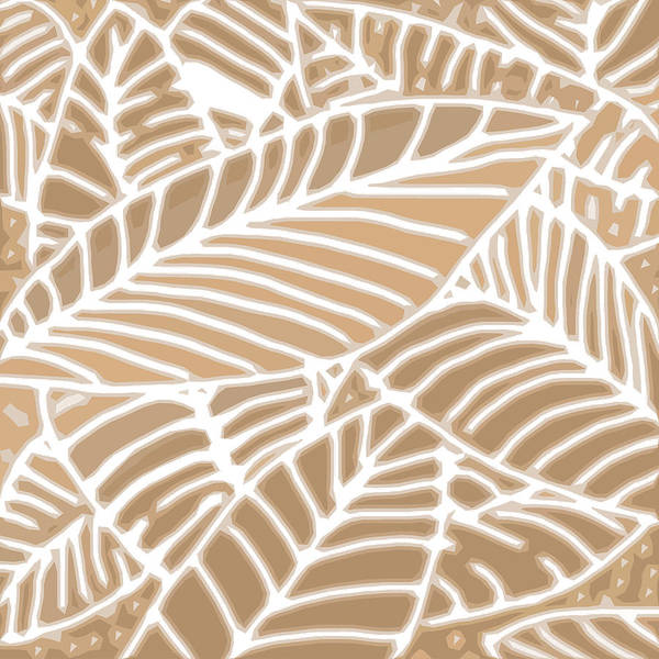 Digital Art - Abstract Leaves Iced Coffee Cutout by Karen Dyson