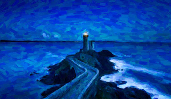 Painting - Abstract Lighthouse In The Night Skies by Adam Asar