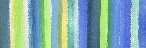 Ultramarine Blue Painting - Abstract Lines In Blue Yellow Green I by Irina Sztukowski