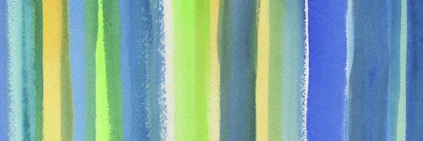 Ultramarine Blue Painting - Abstract Lines In Blue Yellow Green II by Irina Sztukowski