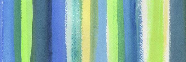 Ultramarine Blue Painting - Abstract Lines In Blue Yellow Green IIi by Irina Sztukowski