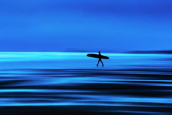 Abstract Lone Windsurfer, Widemouth, Cornwall. Art Print