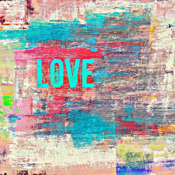 Teal Mixed Media - Abstract Love V1 by Brandi Fitzgerald