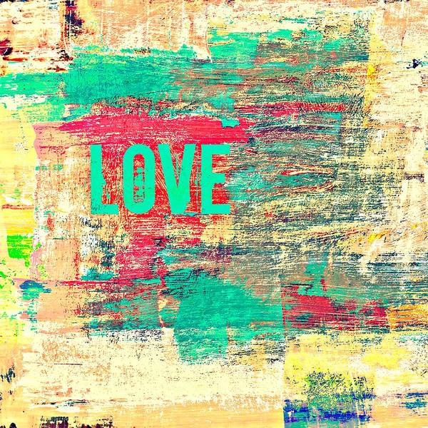 Teal Mixed Media - Abstract Love V2 by Brandi Fitzgerald