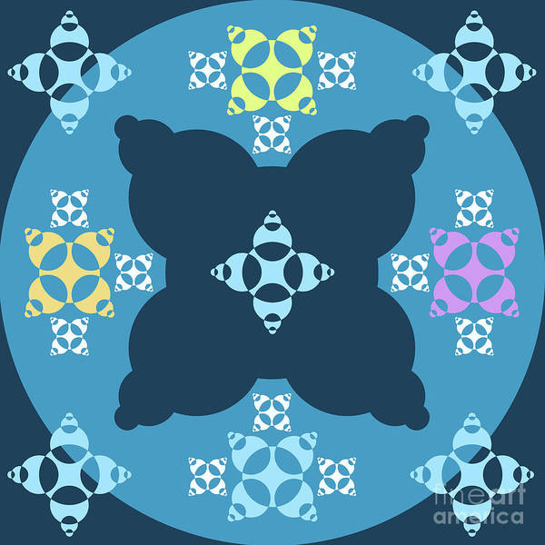 Wall Art - Digital Art - Abstract Mandala Blue, Dark Blue And Cyan Pattern For Home Decoration by Drawspots Illustrations