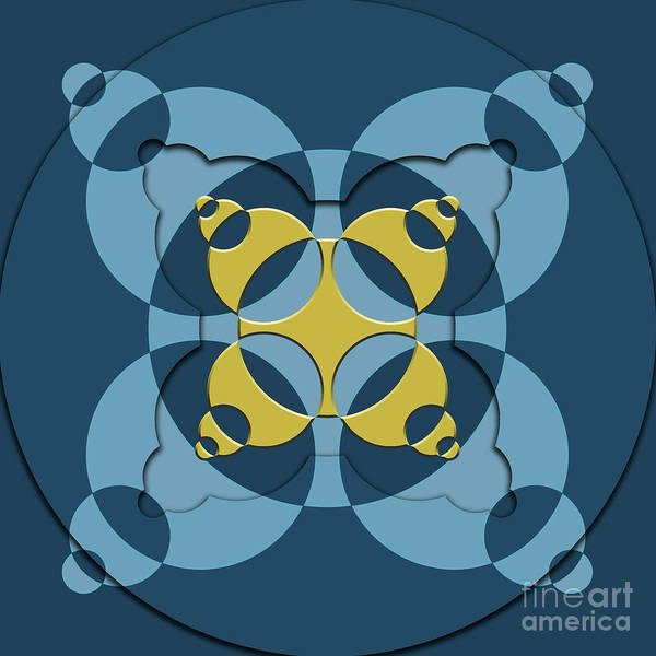 Wall Art - Digital Art - Abstract Mandala Blue, Dark Blue And Green Pattern For Home Decoration by Drawspots Illustrations