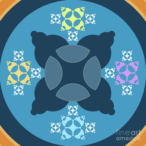 Collector Digital Art - Abstract Mandala Blue, Orange And Cyan Pattern For Home Decoration by Drawspots Illustrations