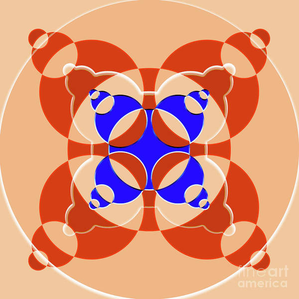 Wall Art - Digital Art - Abstract Mandala Pink, Orange And Blue Pattern For Home Decoration by Drawspots Illustrations