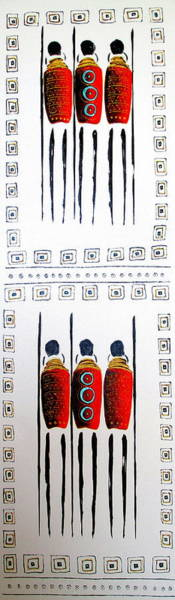 Mixed Media - Abstract Masai Warriors by Tracey Armstrong