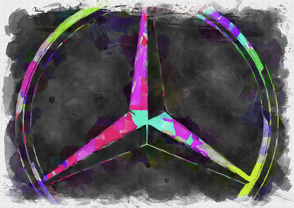 Palette Photograph - Abstract Mercedes Benz Logo Watercolor by Ricky Barnard
