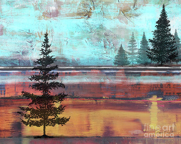 Wall Art - Painting - Abstract Misty Landscape With Trees by Jean Plout