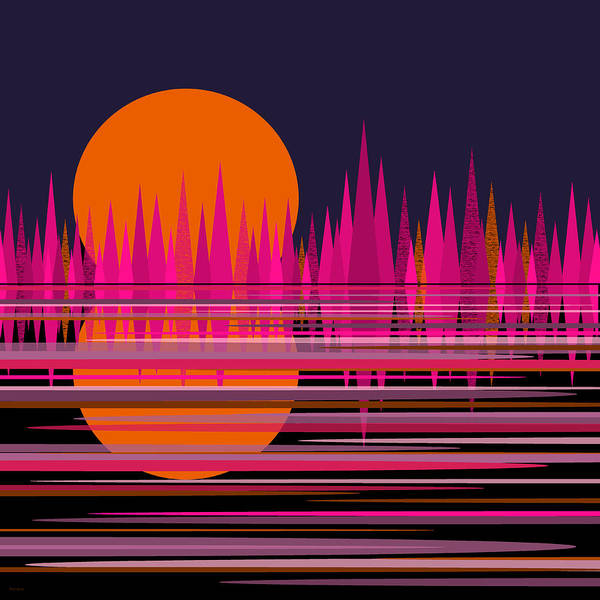 Digital Art - Abstract Moonrise In Pink by Val Arie