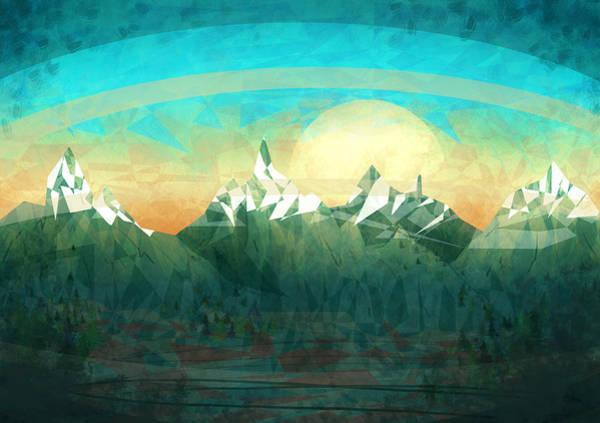 Cyan Digital Art - Abstract Mountain by Thubakabra