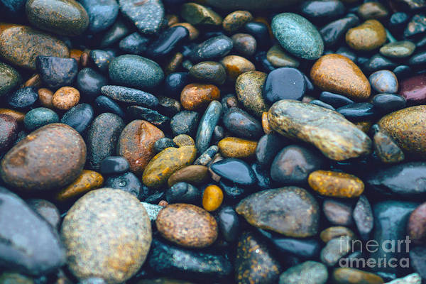 Abstract Nature Tropical Beach Pebbles 923 Blue Art Print