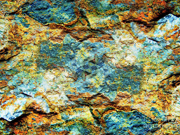 Abstract Nature Tropical Beach Rock Blue Yellow And Orange Macro Photo 472 Art Print