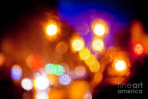 Photograph - Abstract Night Light Of City by Raimond Klavins