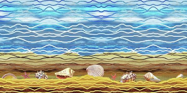 Painting - Abstract Ocean And Sea Shells Beach House Decor by Irina Sztukowski