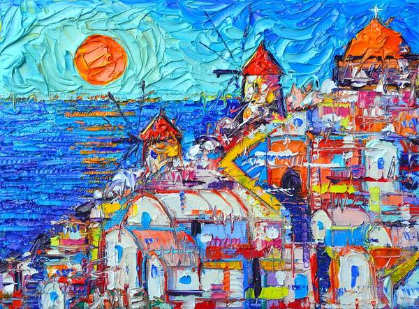 Painting - Abstract Oia Sunset Santorini Impressionist Impasto Palette Knife Oil Painting By Ana Maria Edulescu by Ana Maria Edulescu