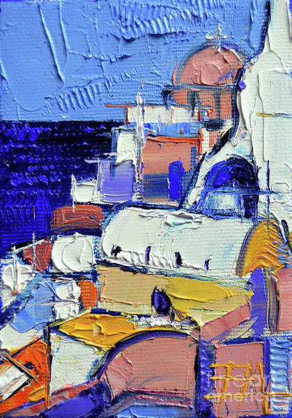 Wall Art - Painting - Abstract Oia View - Mini Cityscape 05 by Mona Edulesco