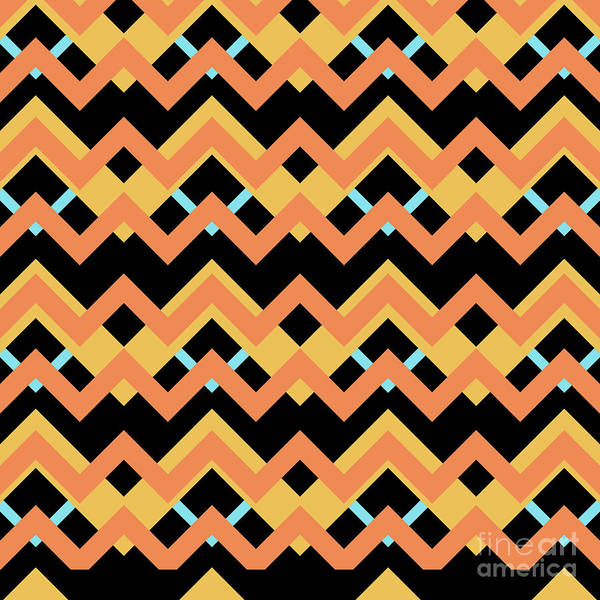 Wall Art - Digital Art - Abstract Orange, Black And Cyan Pattern For Home Decoration by Drawspots Illustrations