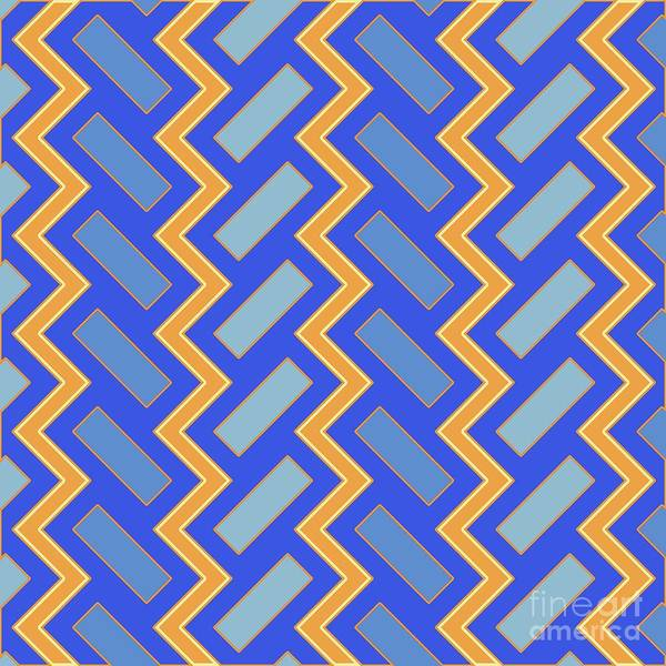 Wall Art - Digital Art - Abstract Orange, Blue And Cyan Pattern For Home Decoration by Drawspots Illustrations