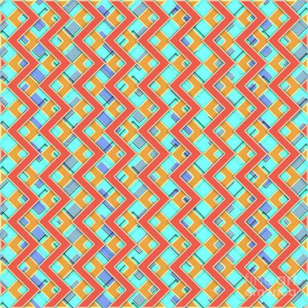 Wall Art - Digital Art - Abstract Orange, Cyan And Red Pattern For Home Decoration by Drawspots Illustrations