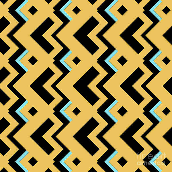 Wall Art - Digital Art - Abstract Orange, Dark Gray And Cyan Pattern For Home Decoration by Drawspots Illustrations
