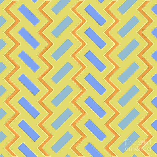Wall Art - Digital Art - Abstract Orange, Green And Cyan Pattern For Home Decoration by Drawspots Illustrations