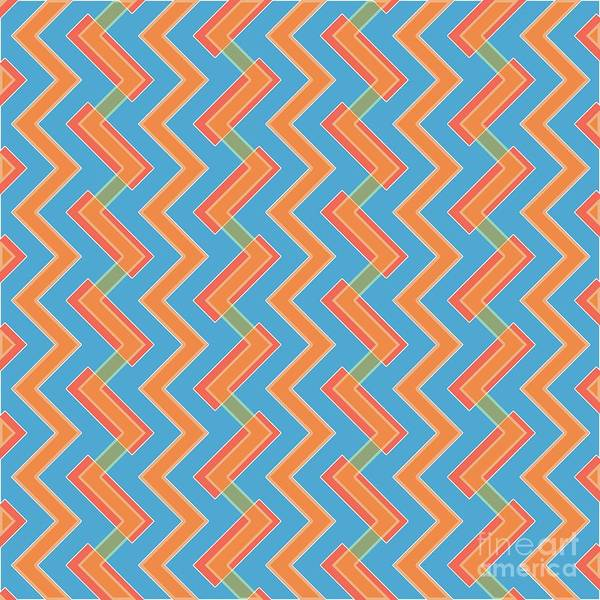 Collector Digital Art - Abstract Orange, Red And Cyan Pattern For Home Decoration by Drawspots Illustrations