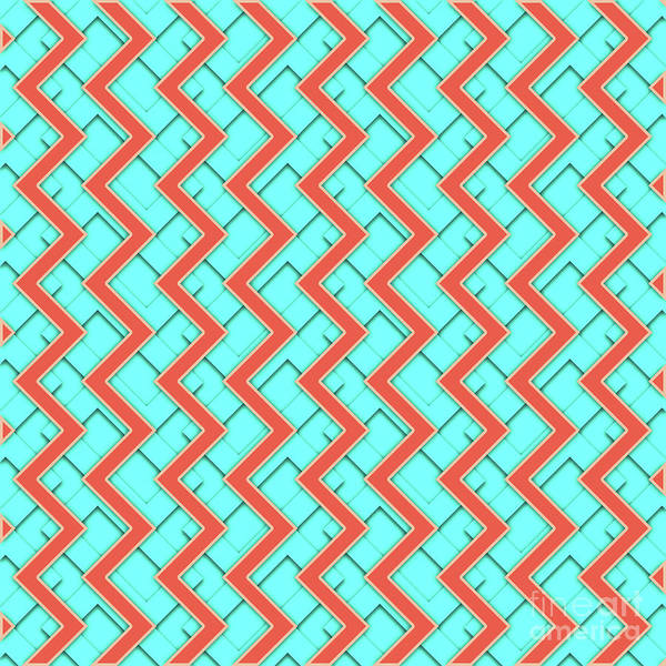 Wall Art - Digital Art - Abstract Orange, Yellow And Cyan Pattern For Home Decoration by Drawspots Illustrations