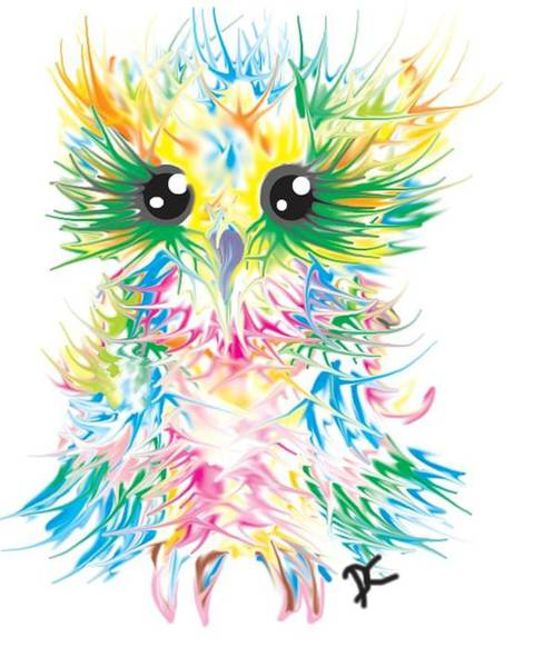 Digital Art - Abstract Owl by Darren Cannell