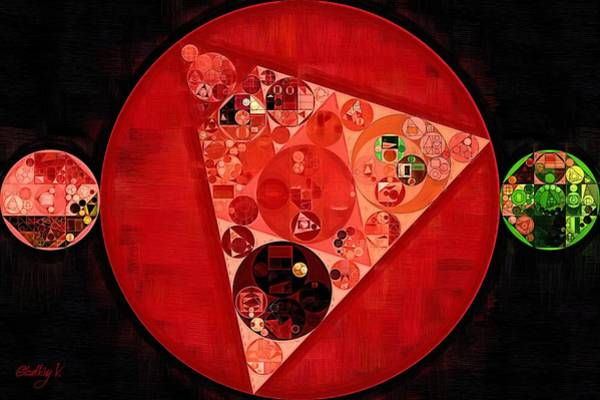 Burn Digital Art - Abstract Painting - Mordant Red Round by Vitaliy Gladkiy