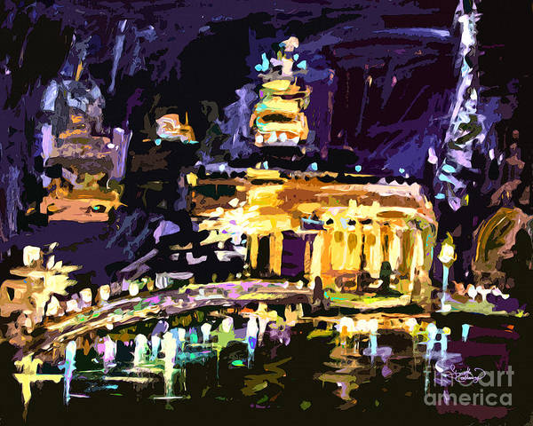 Painting - Abstract Paris Night Reflections by Ginette Callaway