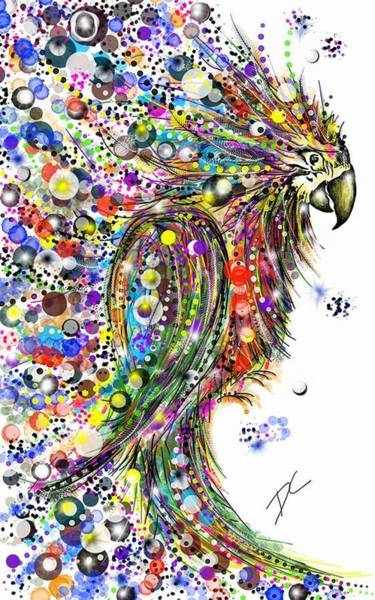 Digital Art - Abstract Parrot by Darren Cannell