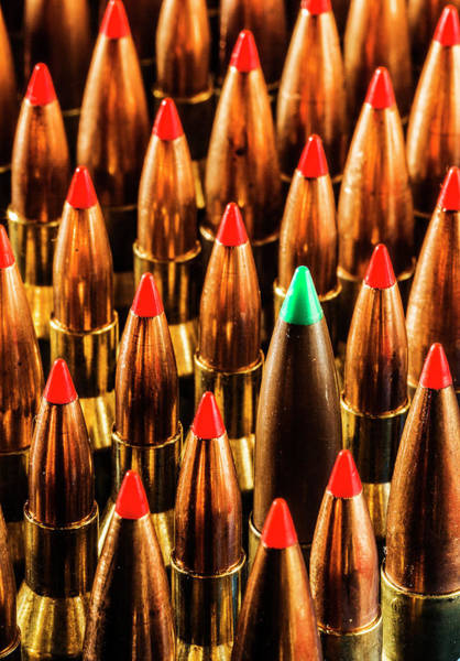 Photograph - Abstract Pattern Of Standing Bullets Upright by Maggie McCall