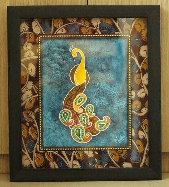 Kalamkari Painting - abstract Peacock Kalamkari  by Madhumitha Balaji