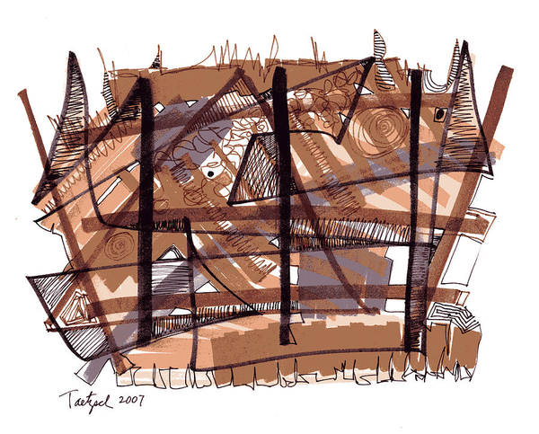 Abstract Expressionist Drawing - Abstract Pen Drawing Twelve by Lynne Taetzsch