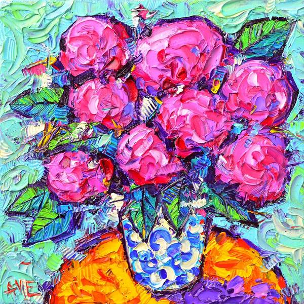 Painting - Abstract Pink Hydrangeas Modern Textural Impressionist Impasto Knife Oil Painting Ana Maria Edulescu by Ana Maria Edulescu