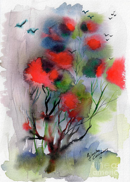 Abstract Poinciana Tree Watercolor Art Print