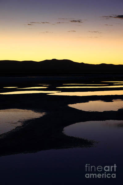 Photograph - Abstract Pools And Silhouettes On Uyuni Salt Flats by James Brunker