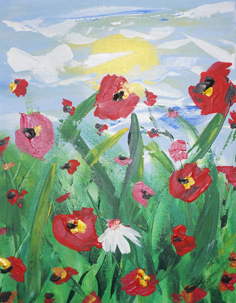Painting - Abstract Poppies No 1 by Adam Asar