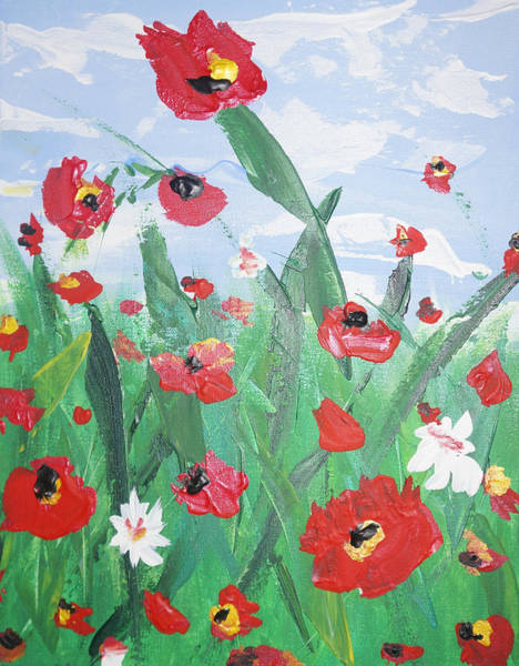 Painting - Abstract Poppies No 2 by Adam Asar