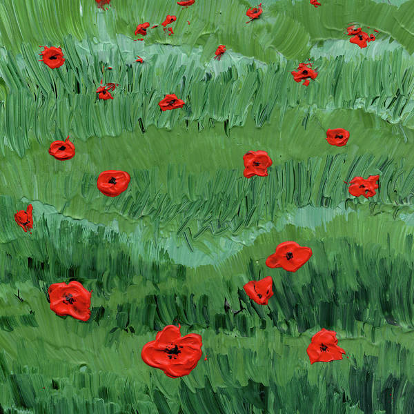 Painting - Abstract Poppy Field Decorative Artwork I by Irina Sztukowski
