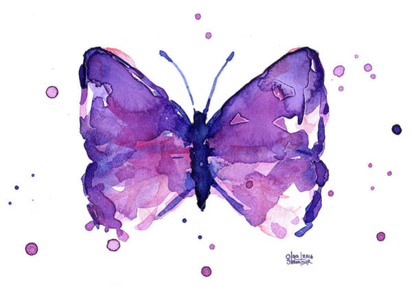 Butterfly Painting - Abstract Purple Butterfly Watercolor by Olga Shvartsur