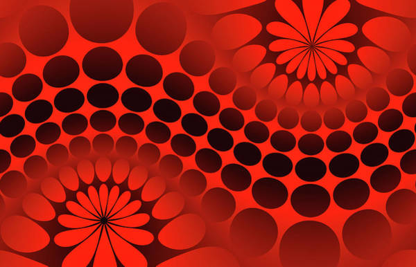 Abstract Digital Art - Abstract Red And Black Ornament by Vladimir Sergeev