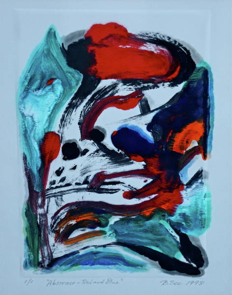 Monotype Mixed Media - Abstract - Red And Blue by Bonnie See